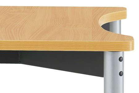 介護・病院用テーブルの天板凹型カーブ