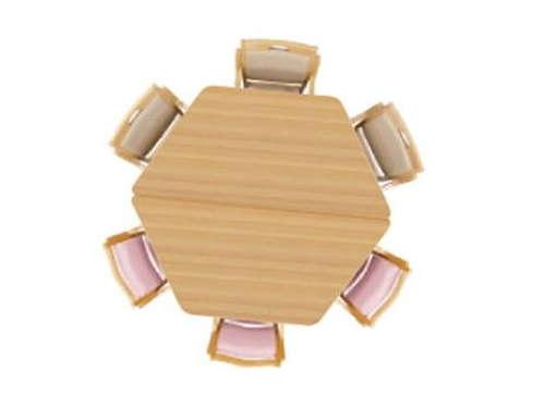 台形テーブル2台をつなげて円形テーブルにして集えるテーブルを作る